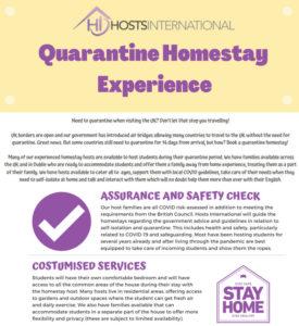 Quarantine Homestay experience with Hosts international