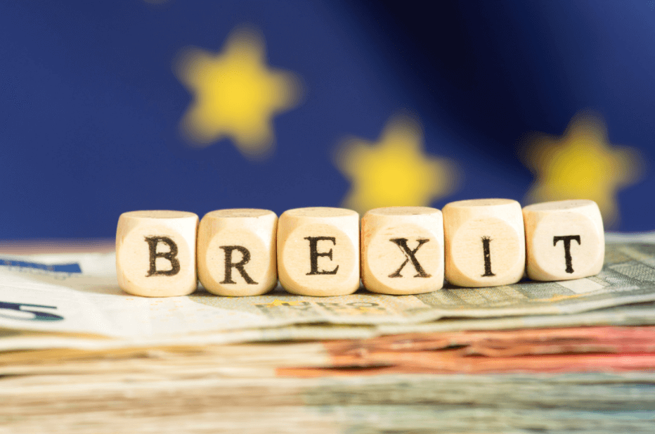 Brexit dice with EU flag in background