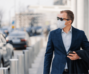 Business man wearing a face mask